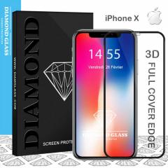 Verre trempé iPhone X - 3D - Protection d'écran DIAMOND HD