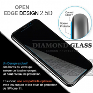 Film protection en verre trempé pour iPhone 11- Apple- Open Edge Design 2.5D+ Full Adhesive