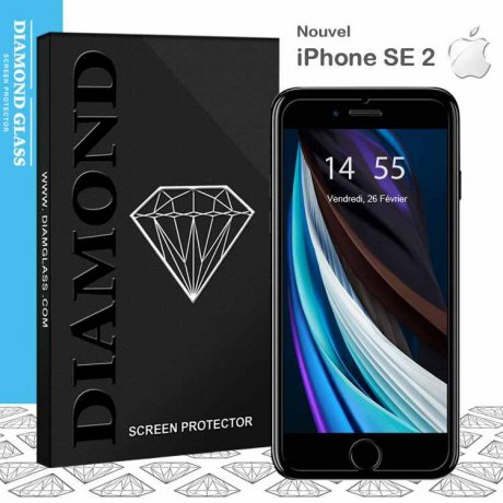 Verre trempé nouvel iPhone SE 2 - 2020 - Protection d'écran Diamond Glass HD