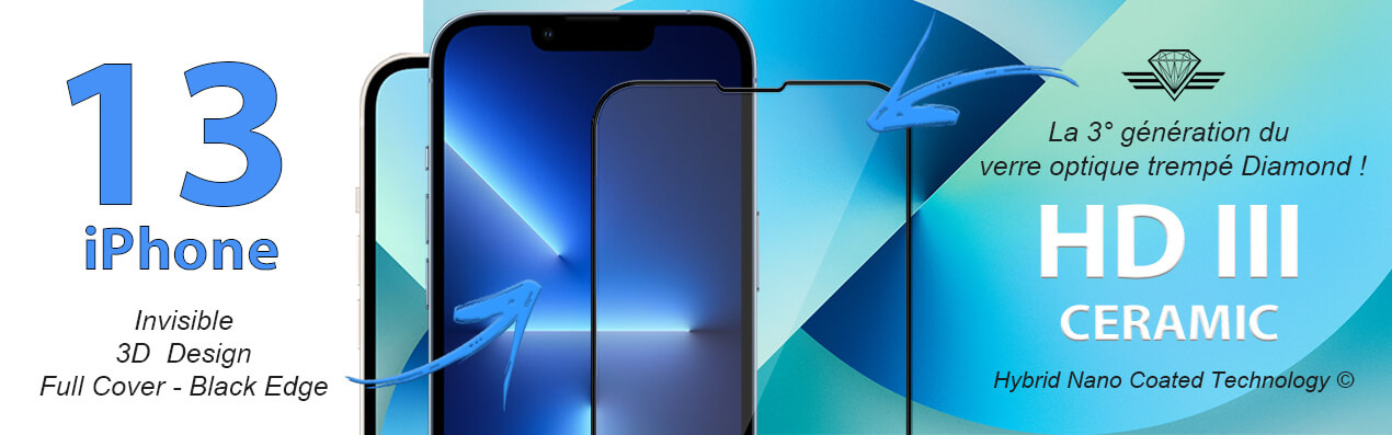 Verre trempé pour iPhone 13 - iPhone 13 Pro - iPhone 13 Pro Max - iPhone 13 Mini - Protection d'écran Antichoc Diamond Glass