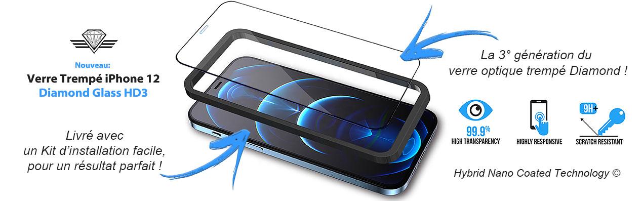 Verre trempé iPhone 12 - Protection d'écran avec guide d'installation